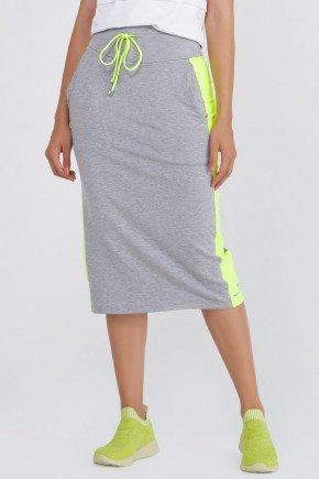 shorts saia midi mescla moletom com amarelo neon epulari ep070 frente3