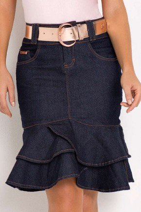 saia jeans sino babado duplo assimetrico laura rosa frente baixo