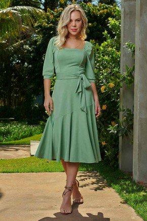 vestido evase verde assimetrico com faixa via tolentino frente
