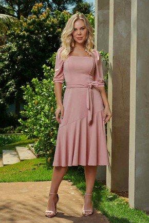 vestido evase rose assimetrico com faixa via tolentino frente