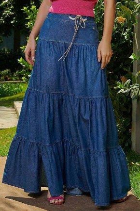 saia jeans longa detalhes franzidos via tolentino frente baixo