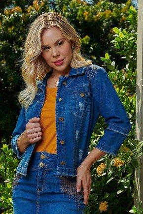 jaqueta jeans com bordado e puidos via tolentino frente cima