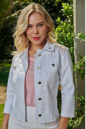 jaqueta branca com bordado industrial via tolentino frente