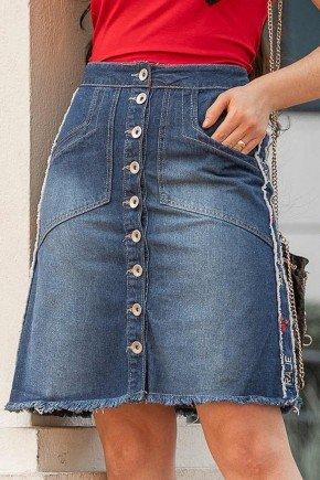 saia evase desfiados laterais abotoamento frontal raje jeans frente baixo