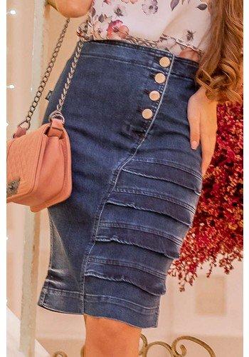saia jeans recortes em babados com botoes raje jeans frente baixo