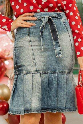 saia jeans babado com pregas raje jeans baixo