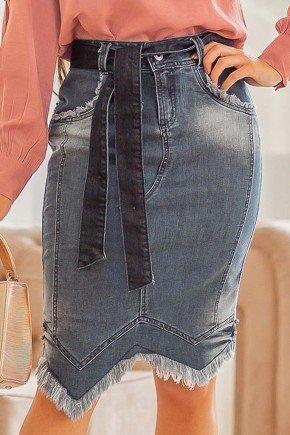 saia jeans assimetrica com desfiados raje jeans frente baixo