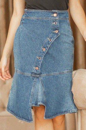 saia assimetrica jeans botoes frontais raje jeans frente baixo