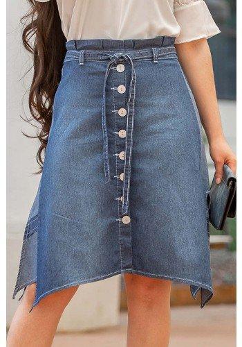saia jeans evase clochard raje jeans frente baixo