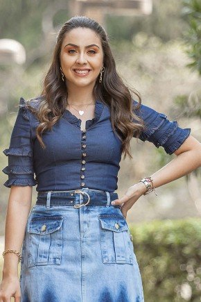 blusa feminina jeans com babadinhos raje jeans cima
