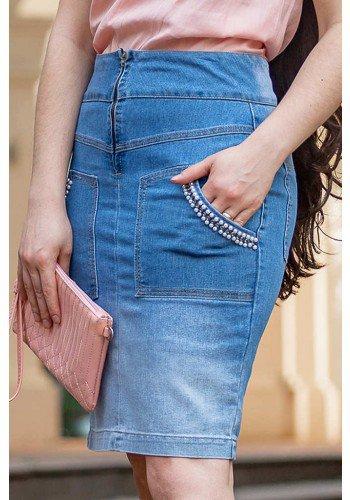 saia jeans bolsos bordados raje jeans frente baixo