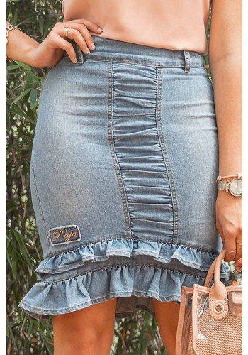 saia jeans drapeada com babados raje jeans frente baixo