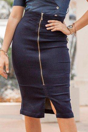 saia lapis marinho ziper frontal cos alto raje jeans frente baixo