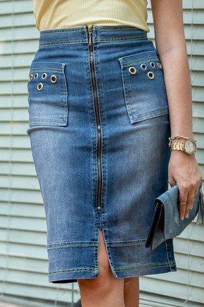 saia jeans detalhe ilhos ziper frontal raje jeans frente baixo