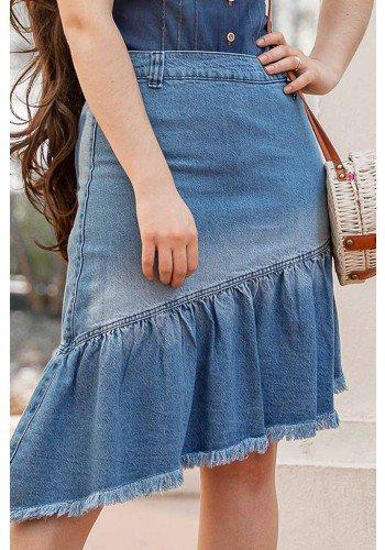 saia jeans barrado assimetrico com desfiados raje jeans frente baixo