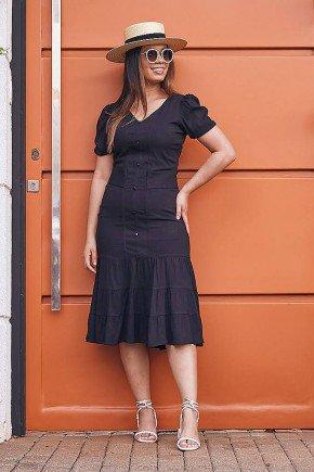 vestido evase preto em viscolinho jany pim frente