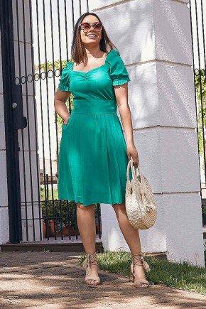 vestido gode verde com bolsos jany pim frente
