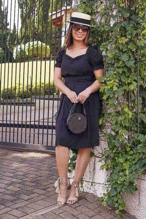vestido gode preto com bolsos jany pim frente
