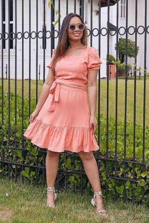 vestido bianca laranja com babados jany pim frente