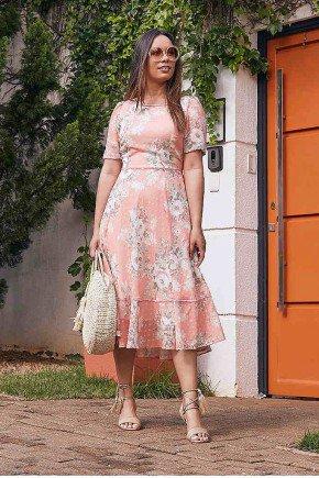 vestido salmao estampado gode jany pim frente