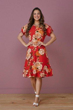 vestido vermelho estampado detalhe nas mangas tata martello