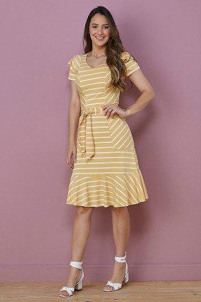 vestido amarelo listrado com amarracao tata martello