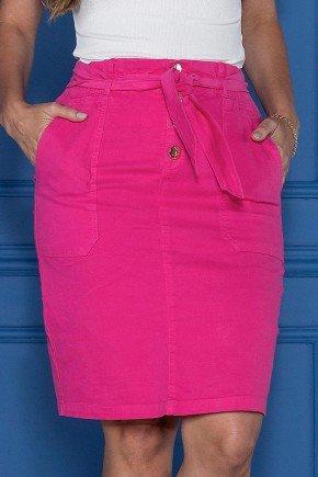 saia jeans pink com bolsos e amarracao tata martello baixo