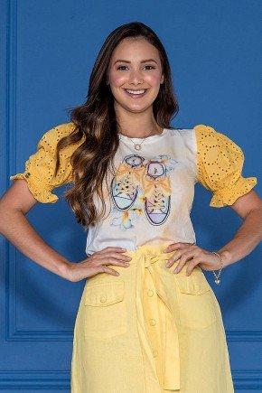 blusa estampada amarelo mangas em lesie tata martello