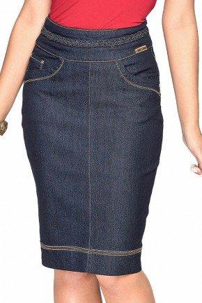 saia jeans marinho detalhe tranca no cos dyork baixo