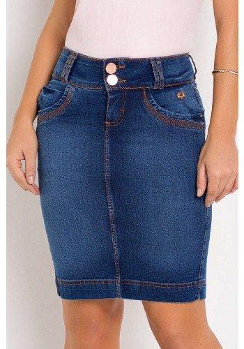 saia jeans detalhe de costura aparente laura rosa baixo