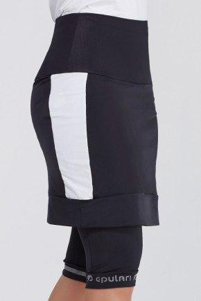shorts saia ciclista preto branco com almofada uv50 epulari ep048br frente3