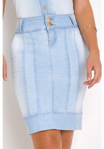 saia jeans reta com recortes frontais laura rosa baixo