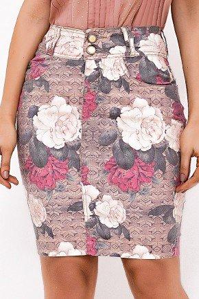 saia feminina estampa floral rosa laura rosa baixo