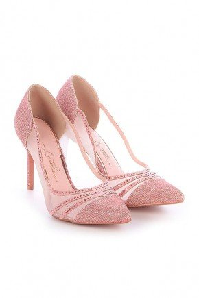 scarpin rosa com transparencia e pedrarias salto fino josiane l atelier lt1150ro 4