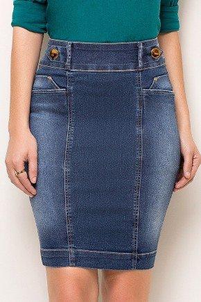 saia jeans cintura alta detalhe no cos laura rosa baixo