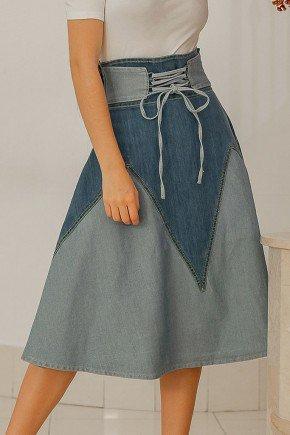 saia jeans cos alto recortes em tecido no avesso raje jeans baixo