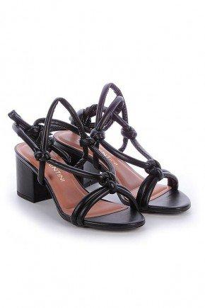 sandalia preta com amarracao salto grosso ohana di valentini dv4188pr 4