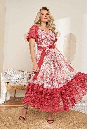 vestido longo transpassado com renda e guippir fasciniu s