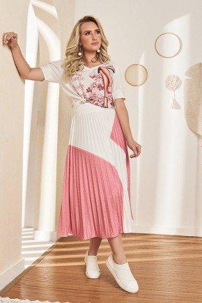 conjunto midi plissado rosa claro fasciniu s