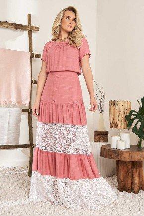 vestido longo rose com renda branca fasciniu s