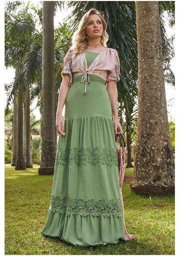 vestido longo verde com guippir e bolero fasciniu s