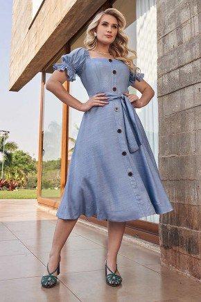 vestido gode azul mangas franzidas fasciniu s