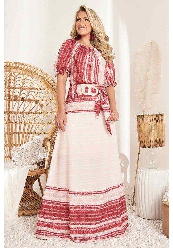 vestido longo gode vermelho com cinto fasciniu s