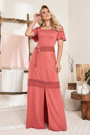 vestido longo com fenda e cinto embutido fasciniu s