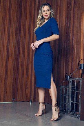 vestido azul marinho tubinho com fendas via tolentino