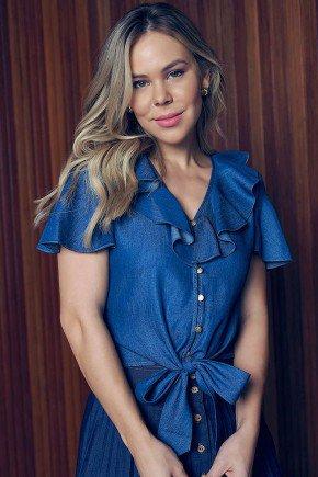 blusa jeans com amarracao e babados via tolentino