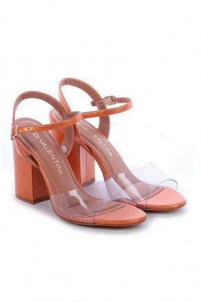 sandalia metalizada laranja salto grosso sirena di valentini dv4293la 3