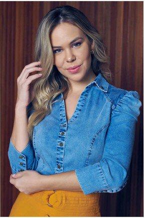 camisa feminina jeans mangas bufantes via tolentino
