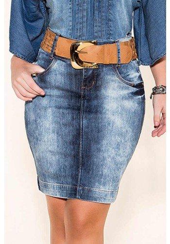 saia jeans tradicional justa com cinto titanium jeans baixo
