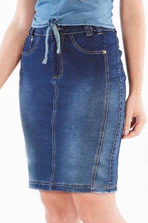 saia jeans secretaria com pespontos claros nitido jeans baixo